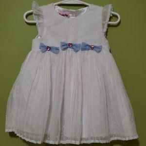 Nannette Baby white pleated dress bows 18 mo
